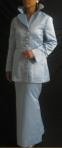 Evening wear: Periwinkle 2-piece suit with welt pockets and notched collar. Fabric: Heavyweight Bridal Satin